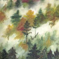 Ködbe boruló őszi erdő