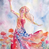 Pöttyös ruhás lány tánca a pipacsmezőben