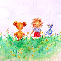 Séta hármasban a tavaszi réten